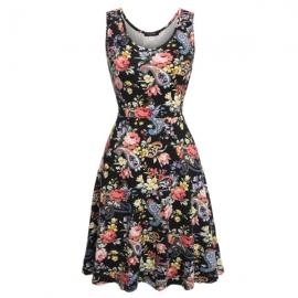 45db365265a Dresses ACEVOG Women Sleeveless Scoop Neck Sundress Beach Floral Mini Dress  White