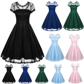 ddbb6f52ea3 Midi ACEVOG Women s Lace Crochet Vintage Wedding Party Dresses With double  Lining