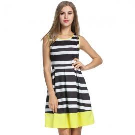 775073237f8d Acevog Womens Retro Sleeveless Striped Skater Evening Party Swing Dress