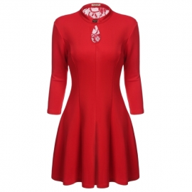 e10d37106c3c ACEVOG Women s A Line Dresses O Neck 3 4 Sleeves Back Lace Elegant Vintage  Dress